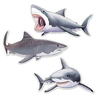 """Club Pack of 36 Gray and White Deep Sea Shark Cutout Party Decorations 24.25"""""""