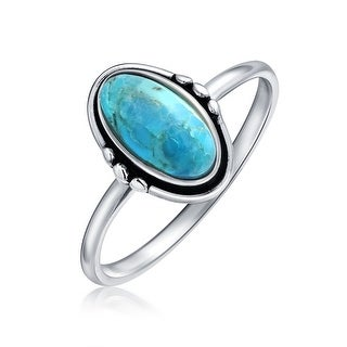 Bling Jewelry 925 Silver Southwestern Style Oval Natural Turquoise Ring - Blue