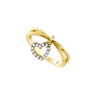 1/10Ctw Diamond Heart Ring Yellow-Gold 14K