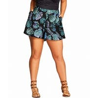 City Chic Black Womens Size Medium M Plus Floral Printed Shorts
