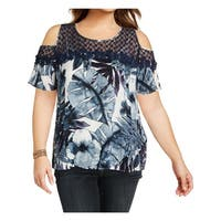 Cupio Blush Womens Pullover Top Watercolor Floral Print Lace Inset