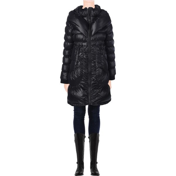 Elie Tahari Womens Shelly Puffer Coat Down Insulated Double Collar