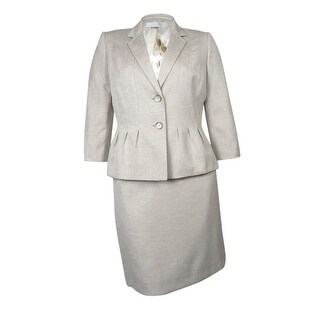 Tahari by ASL Women's Palm Beachy Skirt Suit - oatmeal/ brown
