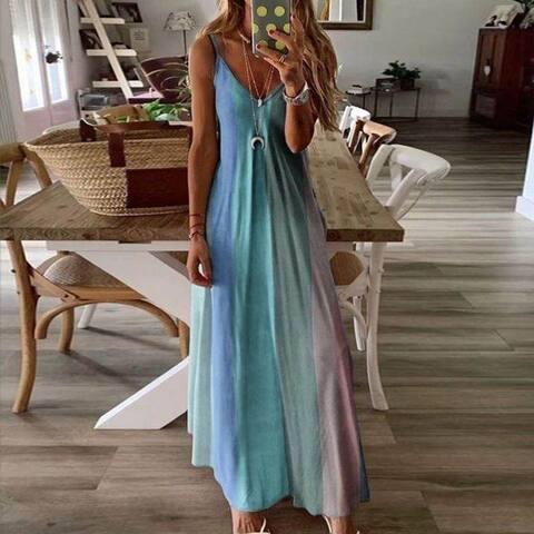 2021 New Long Colorful Sling Print Dress
