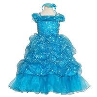 Rain Kids Turquoise Sparkling Stars Pageant Dress Toddler Girls 2T-10