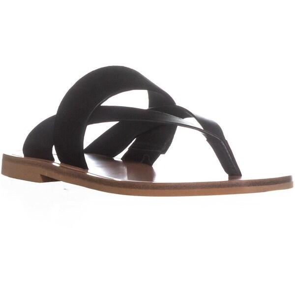 VINCE Tess Slide Thong Flip Flops, Black Suede - 5.5 us / 35.5 eu