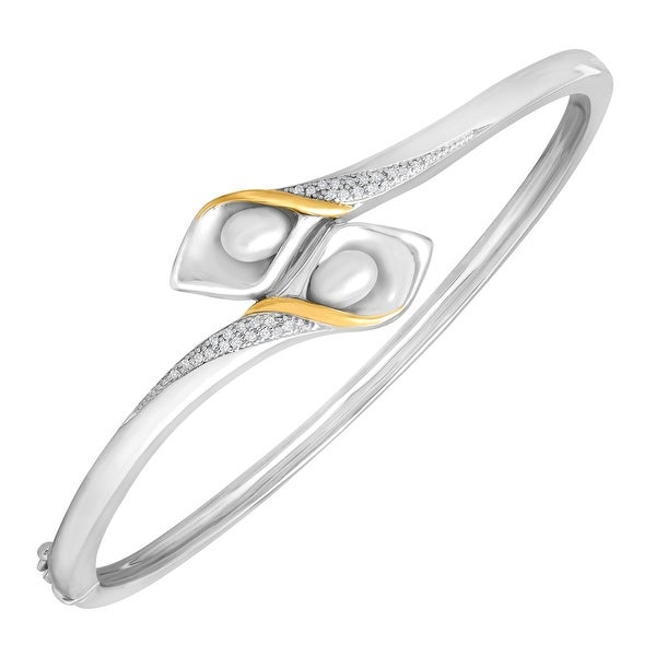 Freshwater Pearl Calla Lily Bangle Bracelet with Diamonds in Sterling Silver and 14K Gold