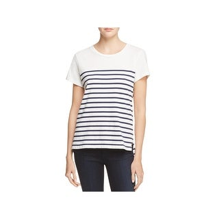 Sundry Womens Maritime Casual Top Crew Neck Striped