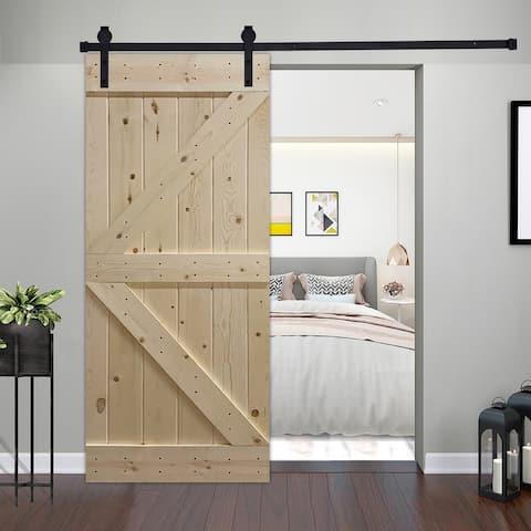 Paneled Wood Unfinished Barn Door with Hardware Kit - UF Series