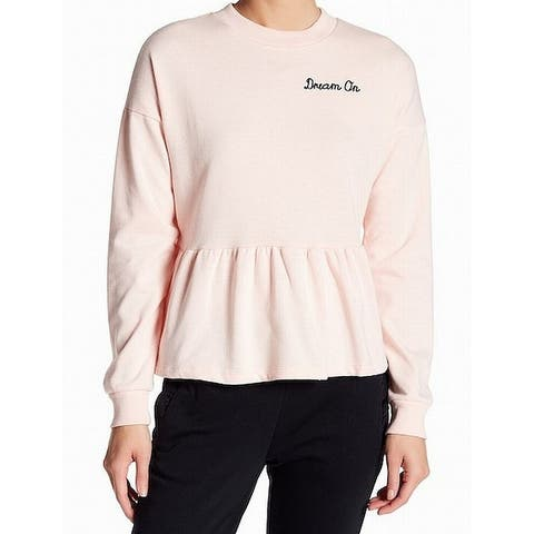 "Planet Gold Pink Women's Large L ""Dream On"" Peplum Crewneck Sweater"