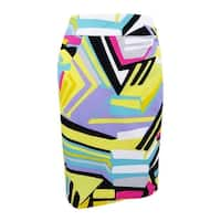 Nine West Women's Plus Size Printed Pencil Skirt - Lemon Multi