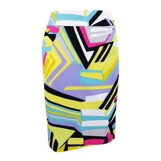 Nine West Women's Plus Size Printed Pencil Skirt - lemon multi