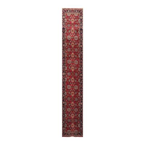 Hand Knotted Sultanabad Red, Charcoal Wool Oriental Area Rug (Runner) - 2' 7'' x 16'