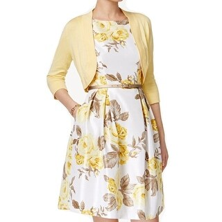 Jessica Howard NEW Yellow Womens Size 12P Petite Floral A-Line Dress