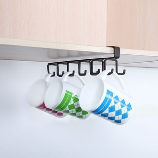 Dual Hook Rack Under Cabinet Shelf 10.8 Inch 12 Cup Hooks Holder Coffee Color - Chocolate