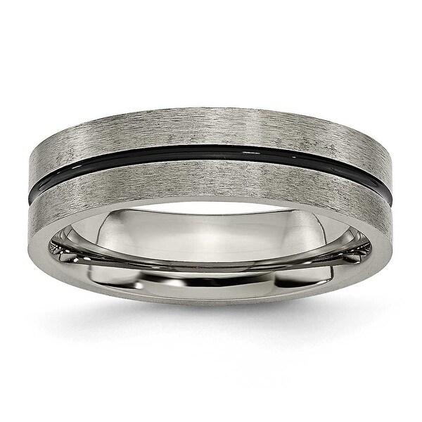 Chisel Black Accent Brushed Titanium Ring (6.0 mm)
