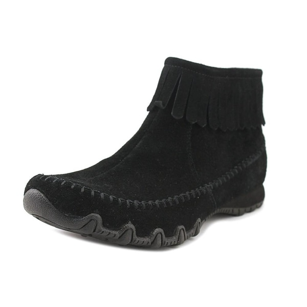 Skechers Bikers Indian Summer Women Round Toe Suede Black Ankle Boot