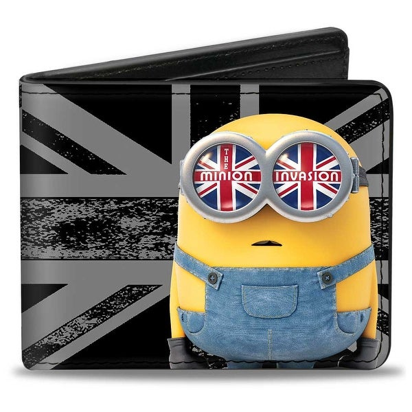 Bob Pose The Minion Invasion + 3 Minion Scooter Pose Union Jack Weathered Bi-Fold Wallet - One Size Fits most