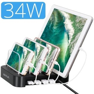 Skiva PowerFlow 34-Watt 4-Port USB Charging Station with Fast 2.4 Amps Smart Charging Ports for iPhone X 8 Plus 7, iPad, Samsung