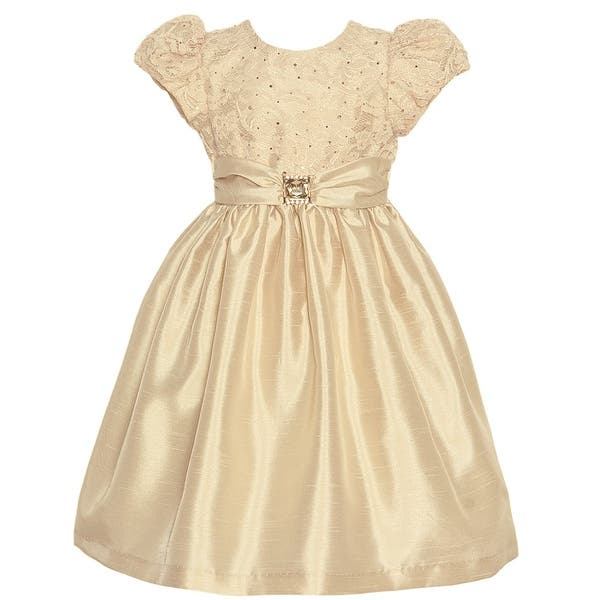 eb89e95bf02 Jayne Copeland Little Girls Champagne Lace Brooch Accent Christmas Dress