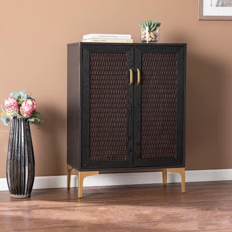 Carson Carrington Home Raintree Transitional Black Wood Bar Cabinet