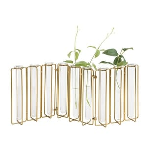 Creative Co-Op Test Tube Bud Vases - Set of 9 Clear Glass Vases with Hinged Metal Stand - Mini Flower Holders - 19 Inch x 8 Inch