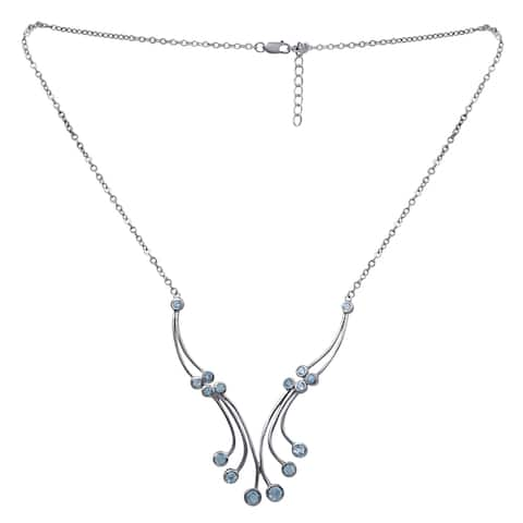 Aquamarine Sterling Silver Round Chain Necklace by Orchid Jewelry