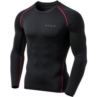 TSLA Tesla MUD01 Cool Dry Long Sleeve Compression Shirt - Black/Red