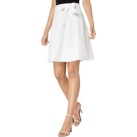 Nine West Womens Lily A-Line Skirt Eyelet Lace Mini