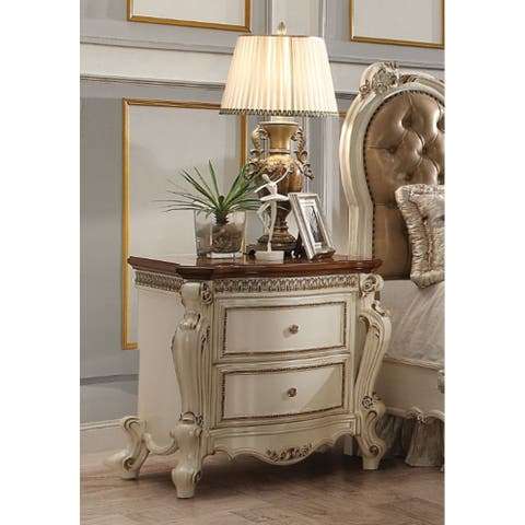 Vintage Style Nightstand with 2 Drawers(Antique Pearl & Cherry Oak)