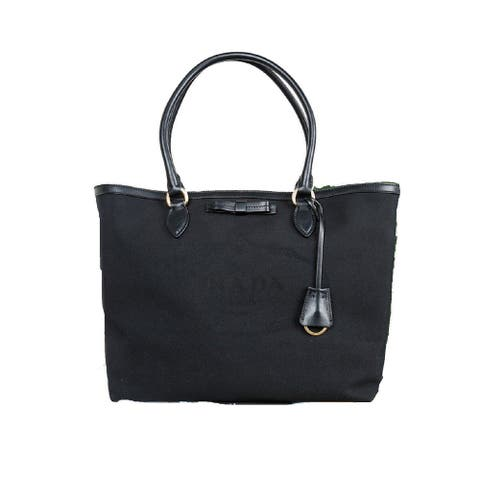 Prada Black Fabric Canvas Jacquard Logo Calf Leather Trim Shopping Tote 1BG158