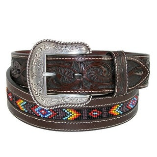 Roper Men's Hand Tooled Leather with Beaded Center Western Belt - Brown