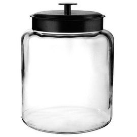 Anchor Hocking 96711R Mini Montana Jars with Black Metal Covers, 64 OZ