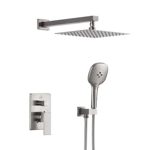 ExBrite Shower Faucet Brushed Nickel 10 inch Luxury Rain Mixer Shower Combo Set Wall Mounted Rain Shower Head System
