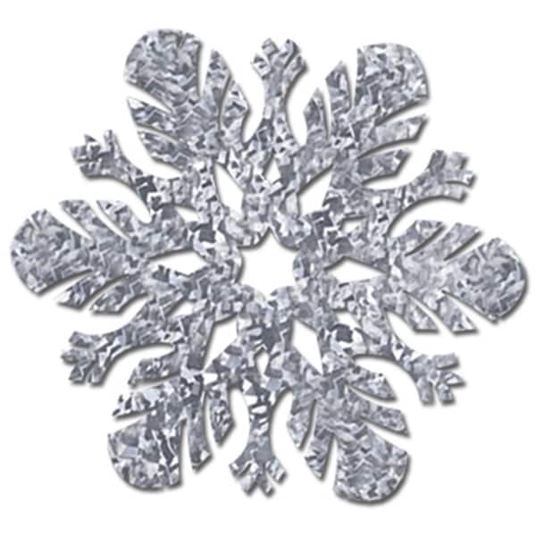 Club Pack of 12 Prismatic Silver Foil Snowflake Cutout Christmas Decorations 14""