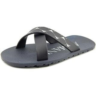 Armani Junior Cross Front Slip-On Open Toe Synthetic Slides Sandal