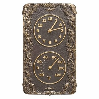 Whitehall Products Acanthus Combo Clock & Thermomter - French Bronze