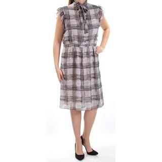 Womens Gray Black Striped Sleeveless Below The Knee Sheath Wear To Work Dress Size: 14