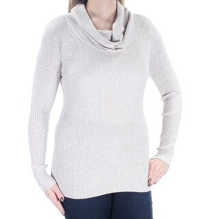 Womens Beige Long Sleeve Cowl Neck Top Size L