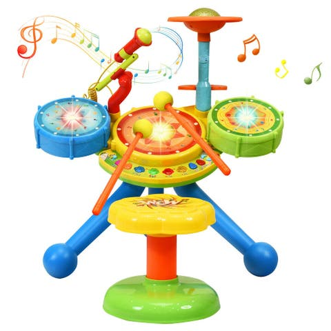 Gymax Kids Electric Jazz Drum Set Musical Instrument with Stool Microphone & LED Light
