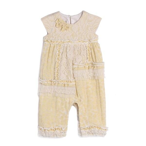 Isobella & Chloe Baby Girls Yellow Knit Lace Ruffle Pattern Romper