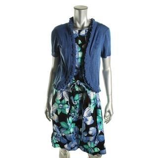 Elementz Womens Floral Print Sleeveless Dress With Cardigan - M