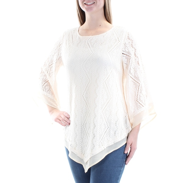 b4b3084ac548c Shop ALFANI Womens Ivory Lace Pointed Hem Bell Sleeve Scoop Neck Top Size   M - Free Shipping On Orders Over  45 - Overstock - 21391361