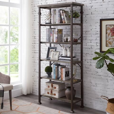 Industrial 6-Tier Open Bookcase Metal Storage Bookshelf