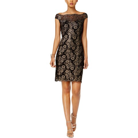 Connected Apparel Womens Party Dress Metallic Lace