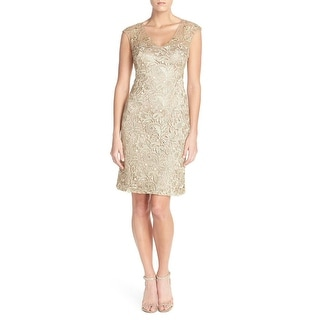 Sue Wong Open Back Lace Sheath Cocktail Evening Dress - 2