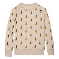 Catalog Classics Women's Honeybees Sweatshirt - Gray Novelty Bee Graphic Top