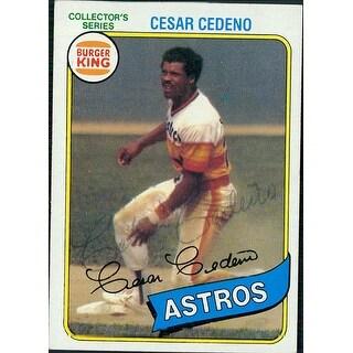 Signed Cedeno Cesar Houston Astros 1980 Topps Baseball Card Light Signature autographed