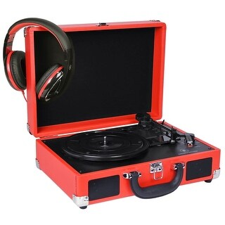 Innovative Technology ITVS-550B-RD 3-Speed Vintage Suitcase Turntable w/Bonus Headphones (Red)