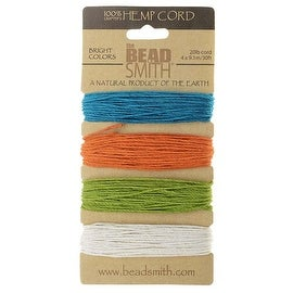 Beadsmith Natural Hemp Twine Bead Cord 1mm Four Tropical Color Variety 30 Feet Each